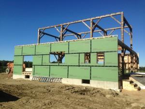 Salvage timber frame barn house