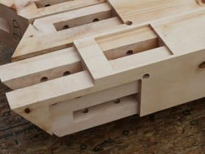 Maine white pine timber joinery